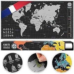 #benehacks Mapa del Mundo en Galo Tipo póster para rascar SIGA Sus Aventuras de Viaje en un Mapa detallado del Mundo - Mapamundi Plata/Negro - 84 x 44 cm