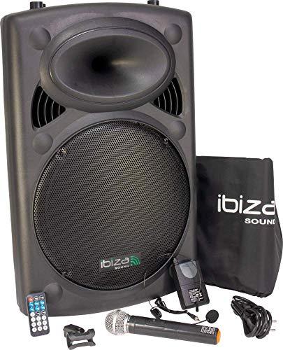 """IBIZA PORT15VHF-BT MOBILE BESCHALLUNGSANLAGE 15\"""" inkl. Mikrofon und Headset PA DJ-Anlage PA-Box Bluetooth Lautsprecher mit Fernebdienung (800W, Akku-Betrieb,USB/SD, Radio)"""