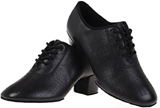 BeiBestCoat Women Lace-up Leather Dancing Shoes Chunky Heel Dancing Shoes