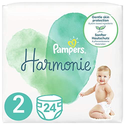 Pampers Baby Windeln Größe 2 (4-8kg) Harmonie, 24 Stück, Tragepack, Sanfter Hautschutz Und Pflanzenbasierte Inhaltsstoffe