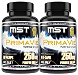 Primavie Shilajit Twin Pack Bottles (2 Bottles of 60 Count Each) 250mg   120 Count   50% Fulvic Acid   Authentic Licensed Natreon Purified Extract   BSCG Certified by MST