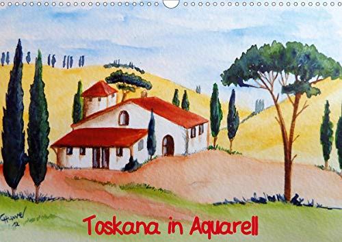 Toskana in Aquarell (AT-Version) (Wandkalender 2021 DIN A3 quer)