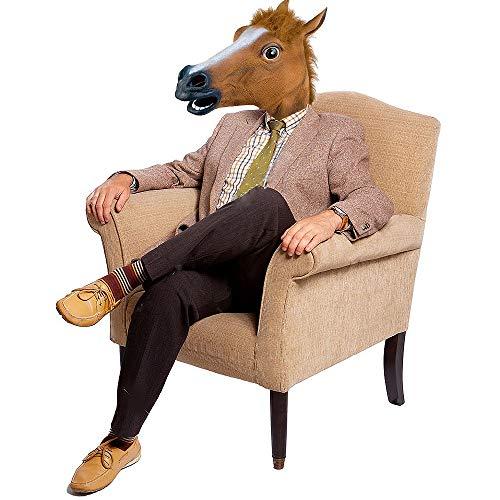 Luxus-Halloween-Kostüm, Pferdekopf aus Latex, für Erwachsene
