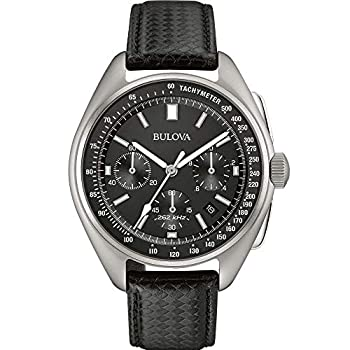 Bulova Archive Series Mens Watch Stainless Steel with Black Leather Strap Lunar Pilot Chronograph  Silver-Tone  Model  96B251