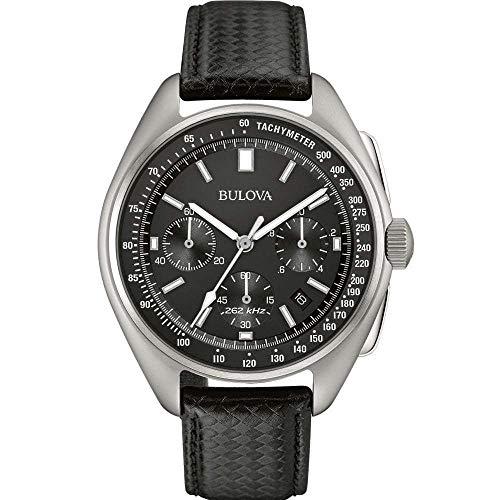 Bulova Piloto Lunar 96B251 - Reloj de Pulsera de diseño para Hombre - Correa de Cuero - Negro