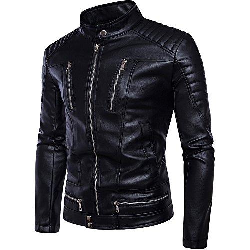 FLY HAWK Men's Soft Synthetic Leather Biker Bomber Jackets Black US Size 3XL