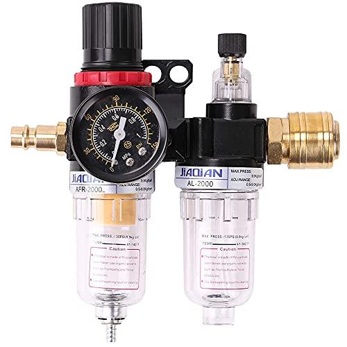 Komake Procesador de La Fuente de Aire,Regulador de Aire 1/4, 1/4 Filtro de Aire Regulador Compresor Trampa de Humedad Separador de Agua-Aceite, Regulador de Presión de Aire