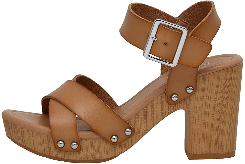 Dunes Women's Sayer Faux Wood Sandal +Comfort Foam Insole & LiteSole Technology