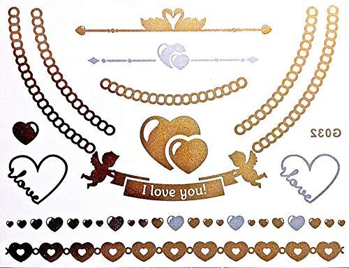 Superbe Flash une fois Tattoo or/argent/noir/métallique pour bras adhésives DOIGTS Corps Idéal pour la plage Disco Party Mariage Fête Carnaval G32