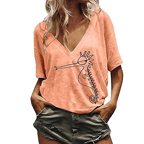 SHOBDW Seepferdchen T-Shirt Damen lose V-Ausschnitt niedlichen Seepferdchen gedruckt Bluse T-Shirt Casual Tops, Plus Size Kurzarm Blusen Damen Große Größen Damen Oberteile M-XXXXXL