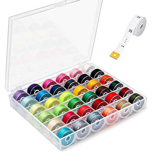 36Pcs Bobbins and Sewing Threads with Case and Soft Measuring Tape, Assorted Colors Pre-Wound Bobbins Set for Singer Brother Janome Babylock Kenmore Machine
