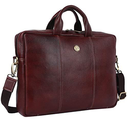Hammonds Flycatcher Original Bombay Brown Leather 14 inch Laptop Messenger Bag|Padded Laptop Compartment|Office Bag (L=38,B=8.5,H=27 inch) LB107BR