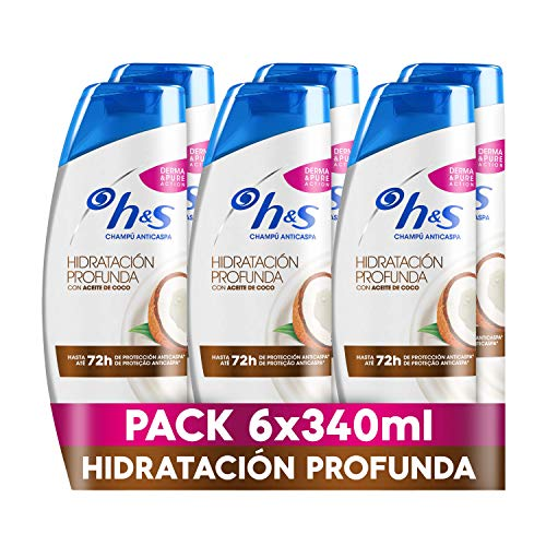 Sh! H&S Hidratación Profunda Champú Anticaspa con Aceite de Coco 6 x 340ml