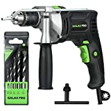 GALAX PRO 7.5A Hammer Drill, 1/2-inch 0-2800RPM Dual Switch Between Electric Impact Drill with 5 Drill Bit Set, 360°Rotating Handle, Aluminum Gear Case, Metal Depth Gauge for Brick, Wood, Steel