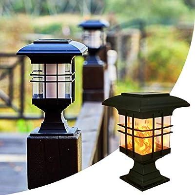 Solar Post Lights Outdoor Lighting, 2PK Classic Deck Fence Post Cap LED Lights with Flickering Flame for 3.5x3.5 4x4 5x5 6x6 Inch Dock Garden Patio Front Door Decoration