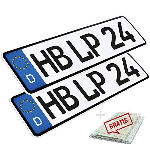 2 Stück KFZ Kennzeichen 46cm x 11cm Nummernschild 460 x 110mm Wunschkennzeichen DIN zertifiziert Autokennzeichen auch für Fahrradträger Anhänger LKW Wunschprägung amtliches Autoschild