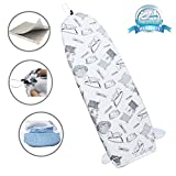 14'x42' Heat Resistance Metallic Over-The-Door Ironing Board Cover Durable Thicken Felt Material Padding Elastic Cord (Iron Pattern)