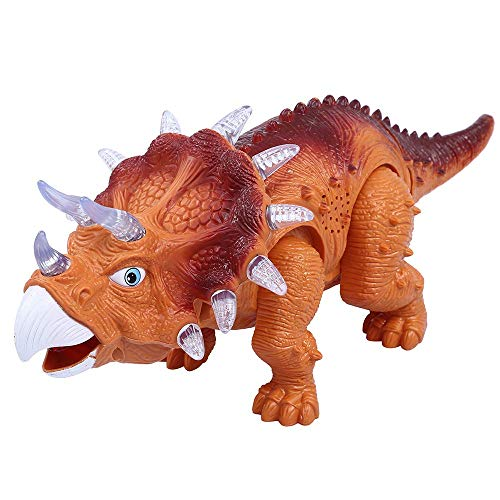 WomToy Walking Dinosaur Toys, Triceratops Dinosaur Toy Figure for Boys & Girls for Kids with Amazing Roar Sounds, Lights & Movement