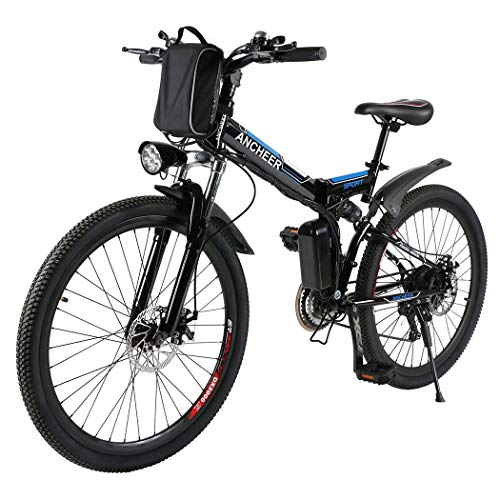 ANCHEER Folding Electric Mountain Bike, 26'' Electric Bike with 36V 8Ah Lithium-Ion Battery, Full...