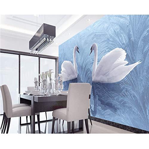 Finloveg Modernes Schwan Des Hintergrundes Der Tapete 3D Reet Gewebekunstwandgemälde Wohnzimmer Große Malereihauptdekoration-Fototapete-400X280Cm
