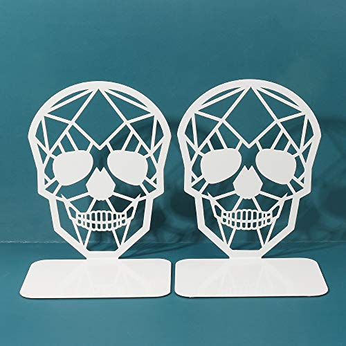 TENGZHEN Metal Bookend White Book Ends, Heavy-Duty Bookends, Bookends for Shelves, Book Ends for Heavy Books,White Skull Design Bookend,Book Shelf Holder Home Office Decorative Desktop Organizer