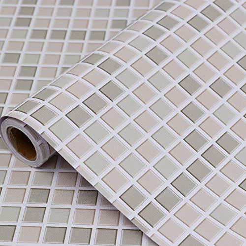 Hode Mosaik Folie Selbstklebend Fliesenaufkleber für Küchen Bädern, 40cmX300cm Mosaik Dekofolie Dekorative Fliesen Klebefolie für Wandfliesen (Khaki)