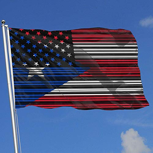 Zudrold Außenflaggen Barcode USA Puerto Rico Flaggenflagge für Sportfan Fußball Basketball Baseball Hockey