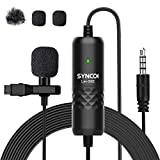 SYNCO Lav-S6E Micro Cravate, Clip-on Lapel Lavalier Microphone Caméra Smartphone 3.5mm Omnidirectionnel Audio de 6m Mic pour iPhone Android Smartphone DSLR Camera Youtube Vidéo