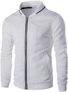 Howely Men Pocket Parka Coat Zip Up Regular Fit Simple Moto Biker Jacket