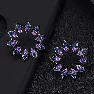 missvikki African Nigerian Dubai Women Engagement Wedding Stud Earrings Silver Made with Full Cubic Zirconia Shiny Jewelry - (Metal Color: Purple Blue)