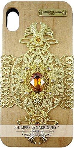 """Preisvergleich Produktbild 'Schutzhülle Apple iPhone X Collection""""Royal Echt Holz Ahorn mit Swarovski-Kristallen topaz auf Filigran de Luxe Gold Hochwertige. Lieferung mit Tasche Velour schwarz. Handgefertigt."""