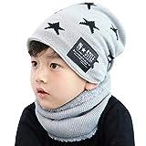 heekpek Bavaglino per Bambini in Due Pezzi Cappello a Cuffia Caldo All aperto in Maglia Invernale Ragazzo e Ragazza (Pentagramma - Grigio Chiaro)