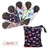 Teamoy 6Pcs 8 Inch Reusable Pads, Cloth Menstrual Pads Washable Period Pads with Charcoal Bamboo Absorbency Layers, Fit for Light Flow (Cute Whale, Small)