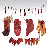 Omigga 18 pcs Halloween Props Decorations Blood Weapon Garland Banner Hand Broken Body Parts Fake Scary Blood Props for Halloween Party Haunted Houses Decorations,6 Body Parts +12 Weapon