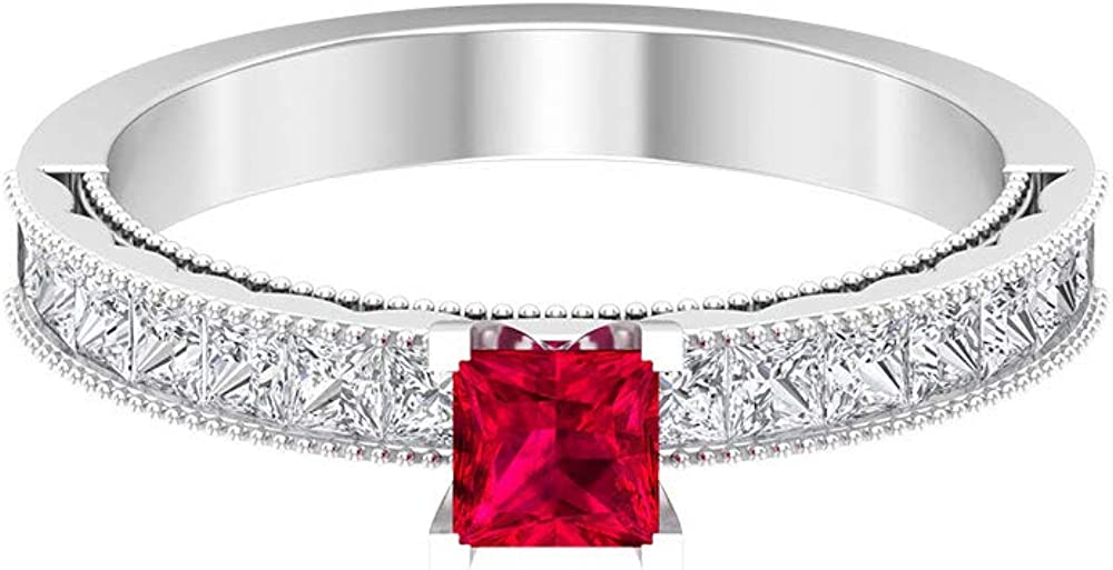 1.50 CT Lab Created Ruby and Outlet Max 84% OFF ☆ Free Shipping Ring S Solitaire with Diamond