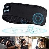 Sleep Headphones Bluetooth 5.0 Eye mask Noise Cancelling,Upgrage Soft Elastic Comfortable Music Sport Headbands, Wireless Play 10h Improve Sleeping, Perfect for Workout, Running, Yoga (Black)