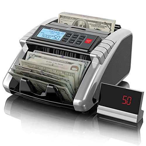 Aneken Money Counter Machine with Count Value of Bills, Dollar, Euro UV/MG/IR/DD Counterfeit Detection Bill Counter, ValuCount, Add and Batch Modes,...