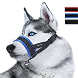 ILEPARK Bozal de Nylon para Perros Grandes Previene Mordidas, Ladridos y Que Mastiquen, Bozal Lazo Ajustable (XL,Azul)