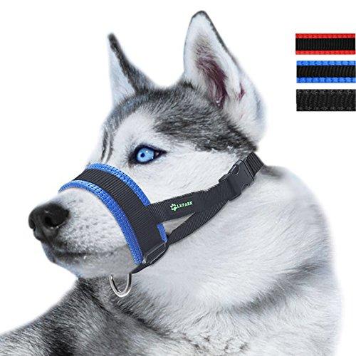 ILEPARK Maulkorb aus Nylon um Hunde vom Beisen, Bellen und Kauen abzuhalten, anpassbare Schlinge (L,Blau)