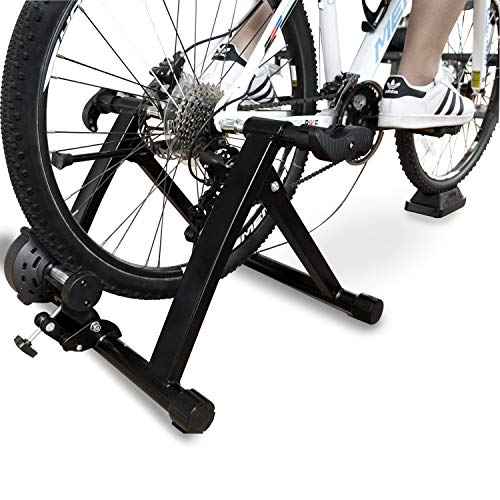 Balance From Bike Trainer Stand Steel Bicycle Exercise Magnetic Stand with Front Wheel Riser Block, Black