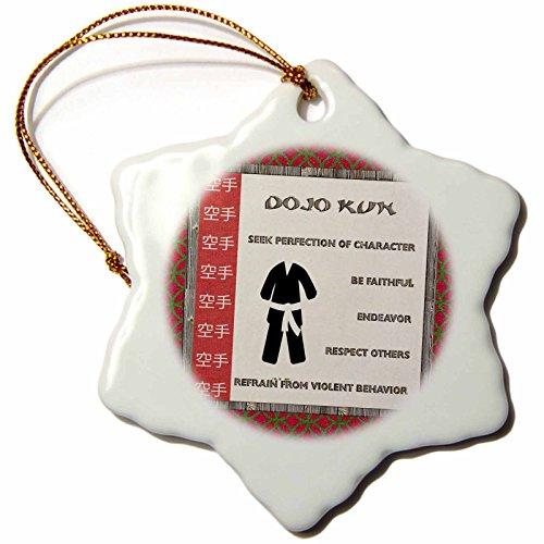 3dRose' Dojo Kun, Japanese Martial Arts, Karate Rules, White Belt Snowflake Ornament, Multi-Colour, 3-Inch
