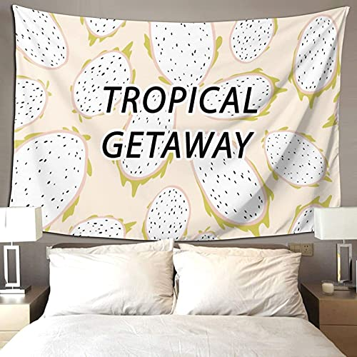 Tropical Fruta Dragón Fruta Verano Ambiente Decoración de la habitación Tapiz Colorido para Dormitorio Estético Pared Tapiz 90*60 pulgadas Prioridad Envío