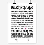 Prints Eisenherz HAUSORDNUNG Kunstdruck Poster (A4)