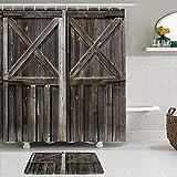 KISSENSU Cortinas con Ganchos,Arte de Fondo Abstracto de Puerta de Granero de Madera Rural Gris Viejo,Cortina de Ducha Alfombra de baño Bañera Accesorios Baño Moderno