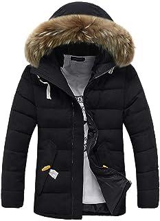 UJUNAOR Men Hiking Jacket Windproof Puffer Jackets Sweatshirt Coat Hoodie Warm Winter Hooded Long Parka Fur or Faux Fur So...