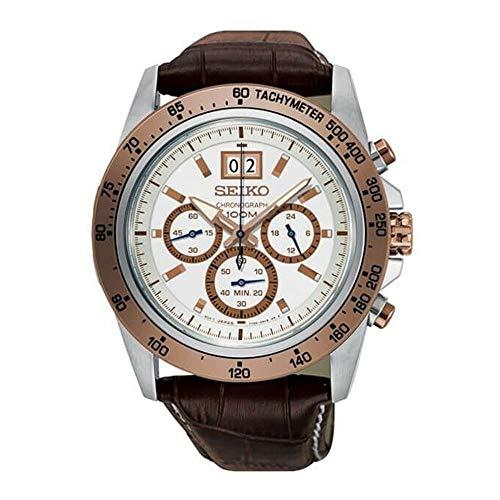 Seiko Reloj Lord para hombre con correa de cuero marrón de 43,3 mm, caja de acero, cristal Hardlex, esfera blanca, SPC246P1