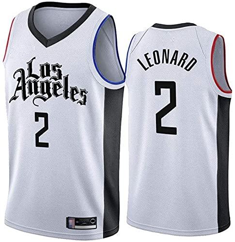 jiaju Ropa Jerseys de Baloncesto de los Hombres, LOS Angeles CLIPPORES # 2 Kawhi Leonard NBA Baloncesto Uniformes Casuales Tops Camisetas Chalecos de Secado rápido, Blanco, XXL (185~190cm)