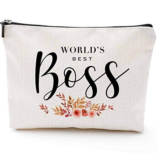 World's Best Boss- Funny Boss's Gifts Makeup Bag - The Perfect Office Gift Idea for Boss, Dad, Mom on Birthday, Christmas, Boss's Day - Great for Work or Home(Makeup bag-World's Best Boss)
