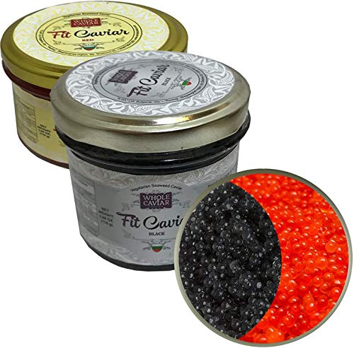 Black & Red Caviar – Vegetarian Seaweed Caviar di Salmon Roe for Pescetarians – Best Caviar for...