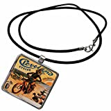 3dRose BLN Vintage Bicycle Advertising Posters - Cleveland Cycles with Indian Riding a Bicycles Paris France Advertising Poster - Necklace with Rectangle Pendant (ncl_153272_1)